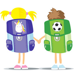 back to school - two students hold hand - girl and vector image