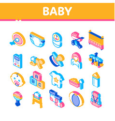 baclothes and tools isometric icons set vector image