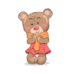 bear toy female character in pink dress warm scarf vector image