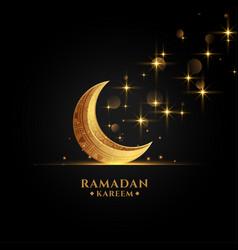 Beautiful golden eid moon ramadan kareem vector