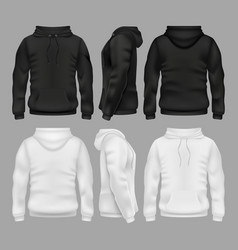 Black and white blank sweatshirt hoodie vector