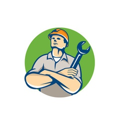 Builder Arms Crossed Wrench Circle Retro vector image