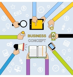 Business hands flat line vector