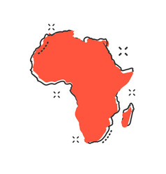 Cartoon africa map icon in comic style africa vector