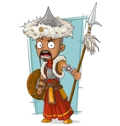 Cartoon crazy Mongolian warrior with spear vector
