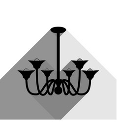 Chandelier simple sign black icon with vector