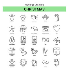 Christmas line icon set - 25 dashed outline style vector