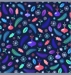 christmas seamless pattern flat style cartoon vector image
