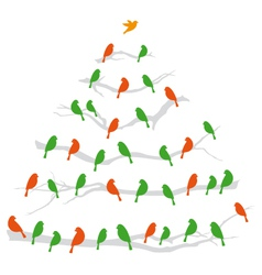 Christmas tree with birds vector image vector image