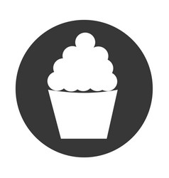 Circular border with silhouette cupcake vector