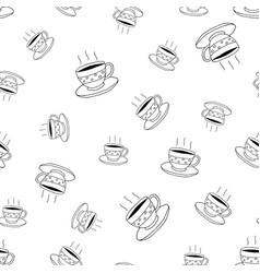 coffee seamless pattern in doodle style vector image vector image
