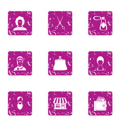 Coiffeur icons set grunge style vector