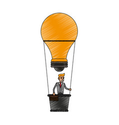 Color pencil ligth bulb hot air balloon with vector