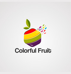 colorful fruit on box with leaf logo icon vector image