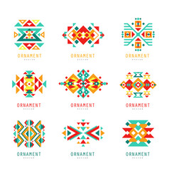 Colorful geometric ornament set abstract logo vector