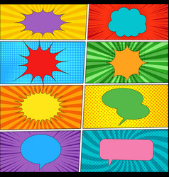 comic backgrounds and speech bubbles collection vector image