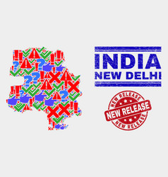 Composition new delhi city map sign mosaic and vector