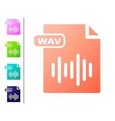 Coral wav file document download wav button icon vector