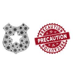 Coronavirus mosaic police shield icon with vector