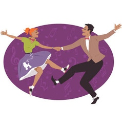 Couple dancing 1950s style rock and roll vector image