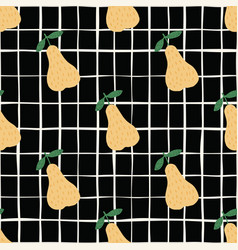 creative yellow pears seamless pattern on black vector image