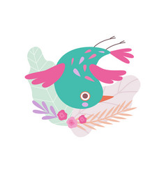 cute colorful nesting bird symbol spring bird vector image