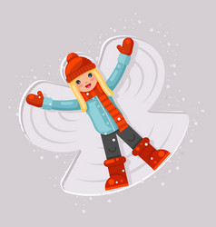 Cute girl making snow angel childhood game lying vector