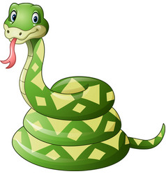 cute green snake cartoon vector image
