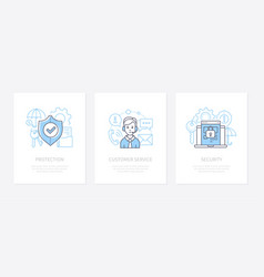 data protection - line design style icons set vector image