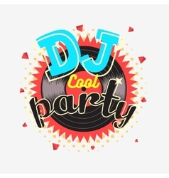 DJ Cool Party 90s Aesthetic Vibrant Colors Poster vector