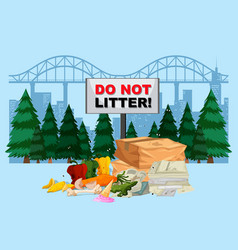 do not litter banner with city background vector image