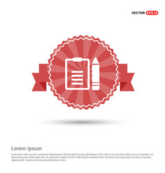 edit document icon - red ribbon banner vector image