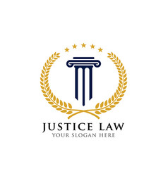 Emblem pillar logo design template justice law vector
