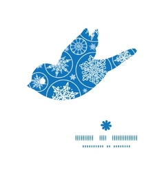 Falling snowflakes bird silhouette pattern frame vector