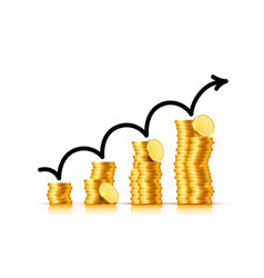 finance growth chart arrow with gold coins vector image