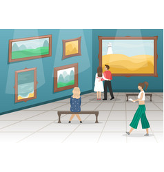 Fine arts museum with visitors vector