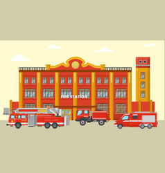 Fire station building and fire trucks vector