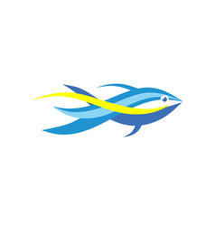 fish abstract logo template vector image