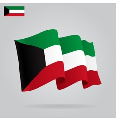 Flat and waving Kuwait Flag vector
