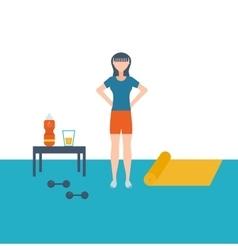 flat set of fitness woman Flat vector image
