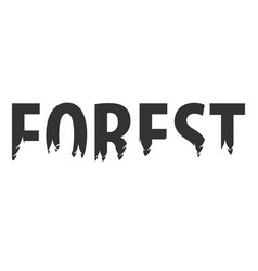 forest text or labels with silhouette of forest vector image