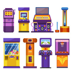 game or slot machines attraction park devices vector image