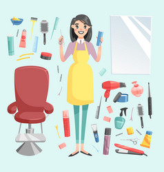 Girl hairdresser with hair clipper and hair vector
