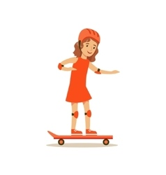 Girl Skateboarding Kid Practicing Different vector