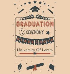 Graduation party ceremony on paper background vector