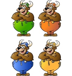 Hand-drawn of 4 Viking Bear in Colored Overalls vector
