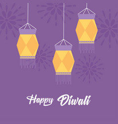 happy diwali festival hanging traditional lamps vector image