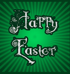 happy easter text on green striped background vector image