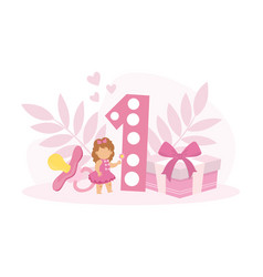 happy first birthday anniversary tiny toddler vector image