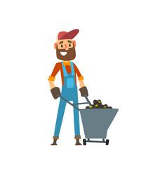 happy male farmer character with wheelbarrow of vector image